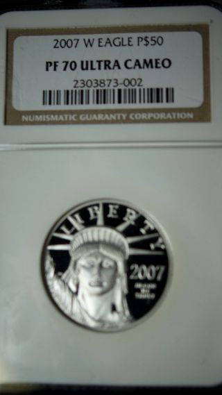 2007 W Platinum Eagle Pf 70 Ultra Cameo $50 photo