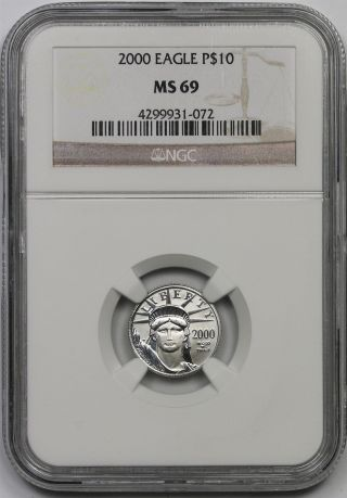 2000 Platinum Eagle $10 Tenth - Ounce Ms 69 Ngc 1/10 Oz Platinum.  9995 photo