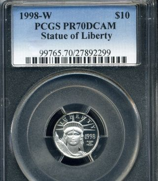 1998 W $10 1/10 Oz Proof Platinum Eagle Pcgs Pr70 Dcam photo