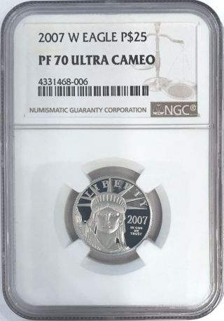 2007 - W $25 Quarter - Ounce Platinum American Eagle Ngc Pf 70 Ultra Cameo Pf70ucam photo
