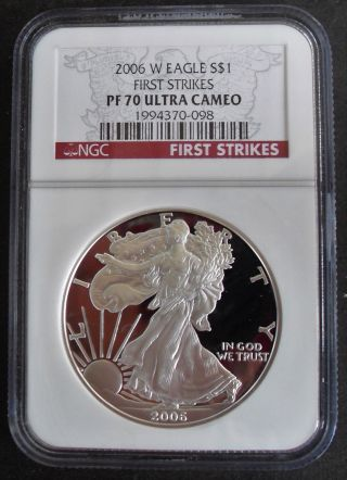 2006 W American Silver Eagle First Strikes Ngc Pf70 Ultra Cameo photo