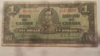 1937 Bank Of Canada $1 Dollar Bill (gordon/towers) Prefix C/m 6451103 photo