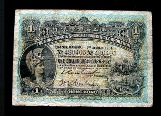 1904 Hong Kong Shanghai China Rare Banknote 1 Dollar // photo