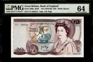 Great Britain 20 Pounds 1970 - 80 Pmg 64 Unc Pick 380b Queen Elizabeth Ii photo