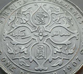 Straits Settlements 1 Dollar 1907.  Km 26.  900 Silver Crown Coin.  Edward Vii. photo