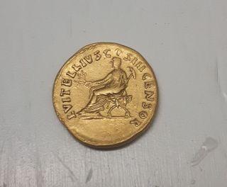 Vitellius,  69 Ad (av Aureus 7.  36 Gr - 20mm) Rare - Roman Gold Coin photo
