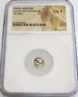 525 - 475 Bc Greek Silver Ionia Meletus Ar Obol Roaring Lion Coin Ngc Choice Fine photo