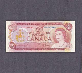 1974 Canadian $2 Dollar Bill $2 Paper Note Ul0167480 photo