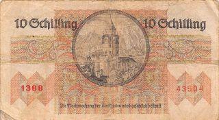 Austria 10/ - 2.  2.  1946 P 122 Series 1388 Circulated Banknote Em30ep photo