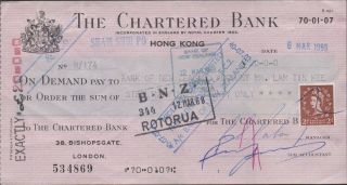Hong Kong / The Chartered Bank / Bank Of Zealand 20 Sterling Pounds 6.  3.  1968 photo