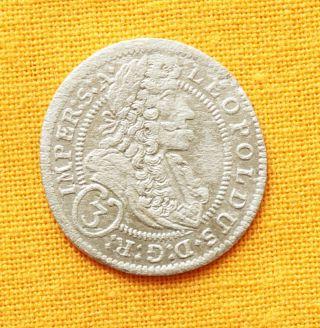 Medieval Austrian Coin - Leopold Silver 3 Kreuzer,  1705. photo
