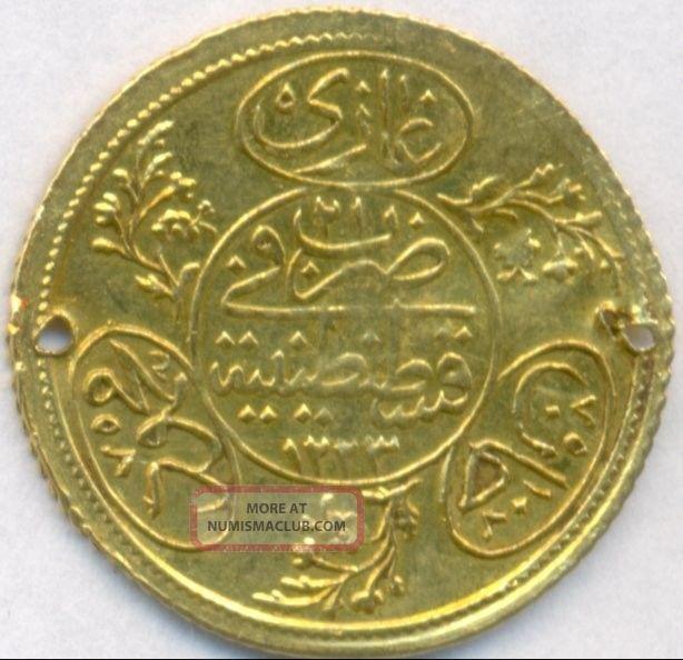 1223 Gold 2 Hayriye Altin Turkey,  Scarce,  3.  5 Grams,  Fine Gold Coins: World photo