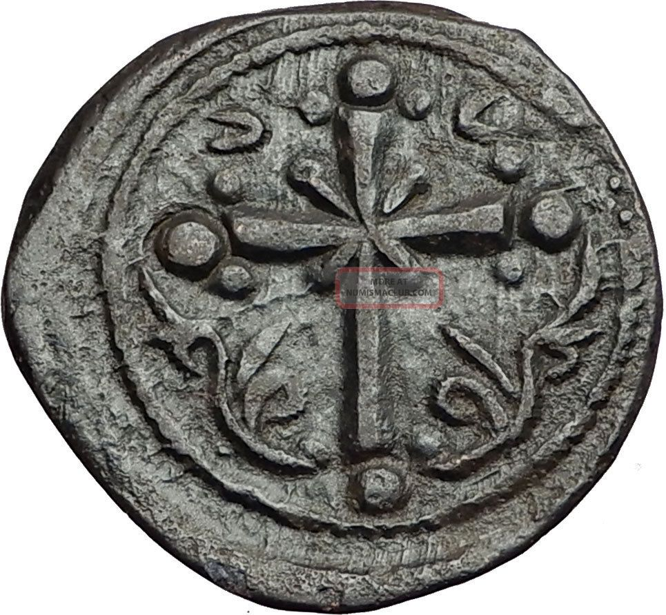 Jesus Christ Class I Anonymous Ancient 1078ad Byzantine Follis Coin Cross I58901 Coins: Ancient photo