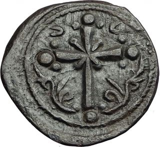 Jesus Christ Class I Anonymous Ancient 1078ad Byzantine Follis Coin Cross I58901 photo