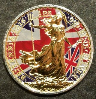 2016 Uk Patriotic Flag Britannia 1oz Silver Coin - 24kt Gold photo