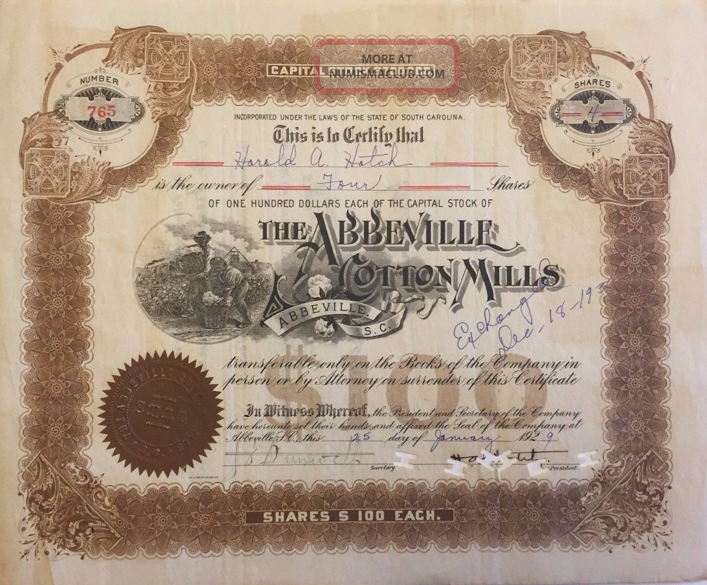 1929 Abbeville Cotton Mills Stock Certificate Rare South Carolina Slave Vignette Stocks & Bonds, Scripophily photo