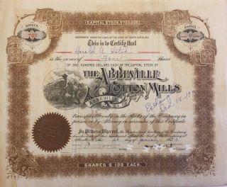 1929 Abbeville Cotton Mills Stock Certificate Rare South Carolina Slave Vignette photo