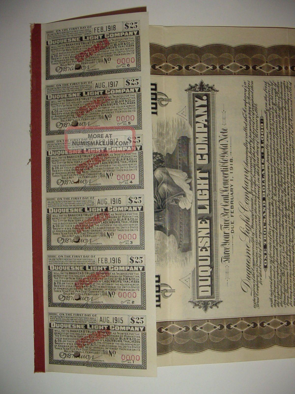 1915 Duquesne Light Company Specimen Bond Certificate Stock Pennsylvania Stocks & Bonds, Scripophily photo