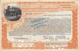 Baltimore & Ohio Railroad Company 1900s Asst Shares Preferred Stock Certificate photo