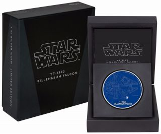 2017 Star Wars Ships: Yt - 1300 Millennium Falcon - 1 Oz.  Silver Coin - photo