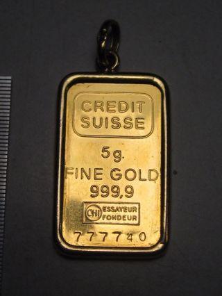 5 Gram Credit Suisse.  9999 Fine Gold Bar In 18k Gold 1g Bezel.  Serial 777740 photo