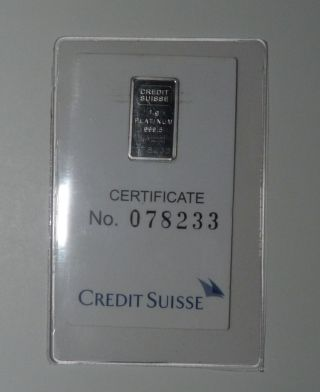 Credit - Suisse - 1 - Gram - 9995 - Platinum - Bullion - Bar photo