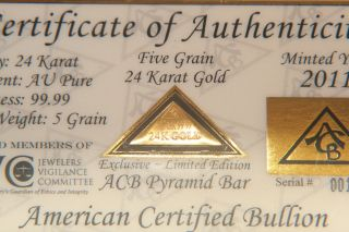 Acb Gold Pyramid 5grain 24k Solid Bullion Minted Bar 99.  99 Fine With photo