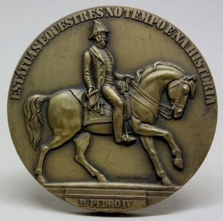 Bronze Medal Of Pedro I Of Brazil & Iv Of Portugal Equestrian Statue/ A.  Calmels photo