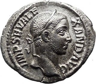 Severus Alexander 222ad Ancient Silver Roman Coin Virtus Valour W Spear I32078 photo