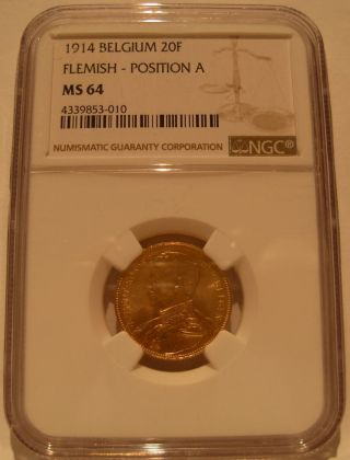 Belgium 1914 Gold 20 Francs Ngc Ms - 64 Flemish - Position A photo