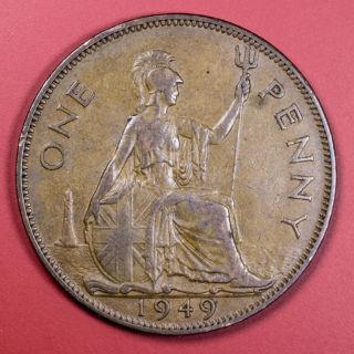 1949 Great Britain One Penny Foreign Coin - Low S&h photo