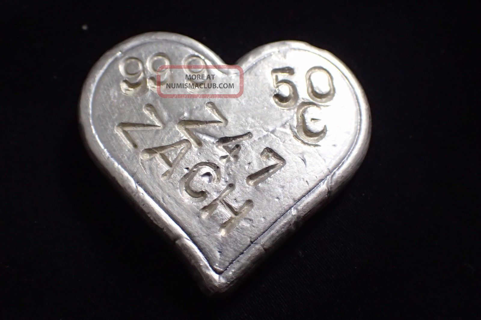 50 Gram I Love You Hand Poured Silver Heart 999 Fine