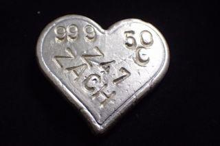 50 Gram I Love You Hand Poured Silver Heart.  999 Fine Silver 50 G Silver Art photo