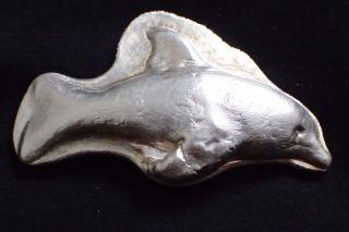 80 Gram Hand Poured Silver Fish Dolphin.  999 Fine Silver 80 G.  999 Silver Art photo