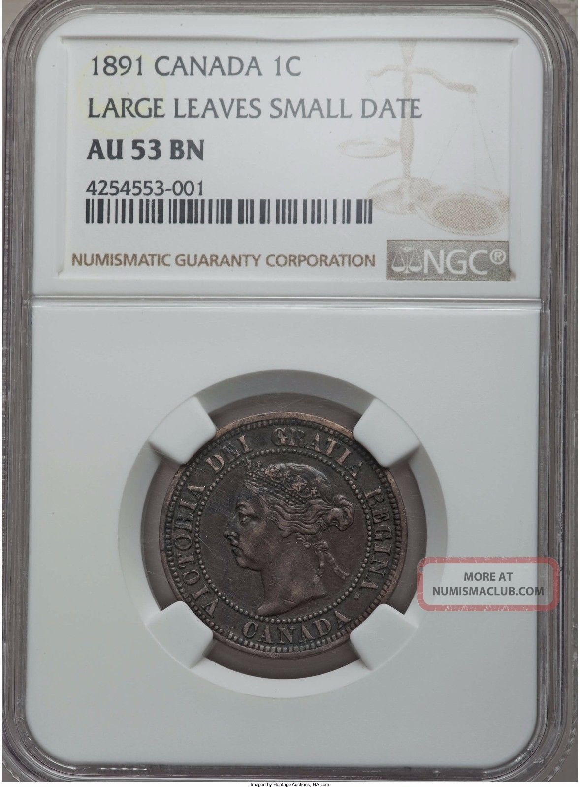 1891 Key Date Canada Large Cent Large Leaves / Small Date Ngc Au53 Brown Coins: Canada photo
