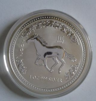 2002 Australia Year Of The Horse 1 Oz Silver Coin photo