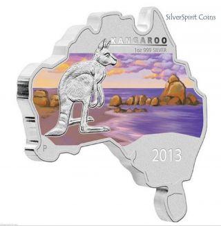 2013 Australian Map Kangaroo 999 Silver 1oz Map Shaped Coin photo