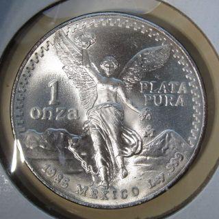 1985 Mexico Libertad 1 Onza 1 Oz.  Plata Pura Silver photo