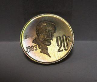1983 Mo Mexico 20 Centavos Copper - Nickel Proof Coin Rare photo