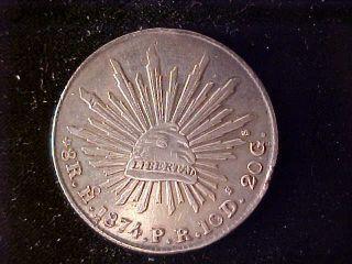 Cap & Rays 8 Reales 1874 Ho Pr photo