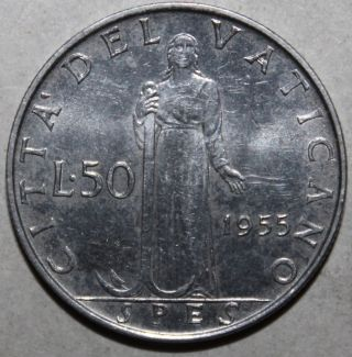 Vatican City 50 Lire Coin,  1955 - Km 54.  1 An - Pope Pius Xii - Fifty photo