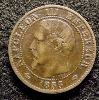 1855 A France 5 Centimes - Napoleon Iii Coin,  Km 777.  1 (623) photo