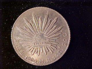 Cap & Rays 8 Reales 1884 Mo Mh photo