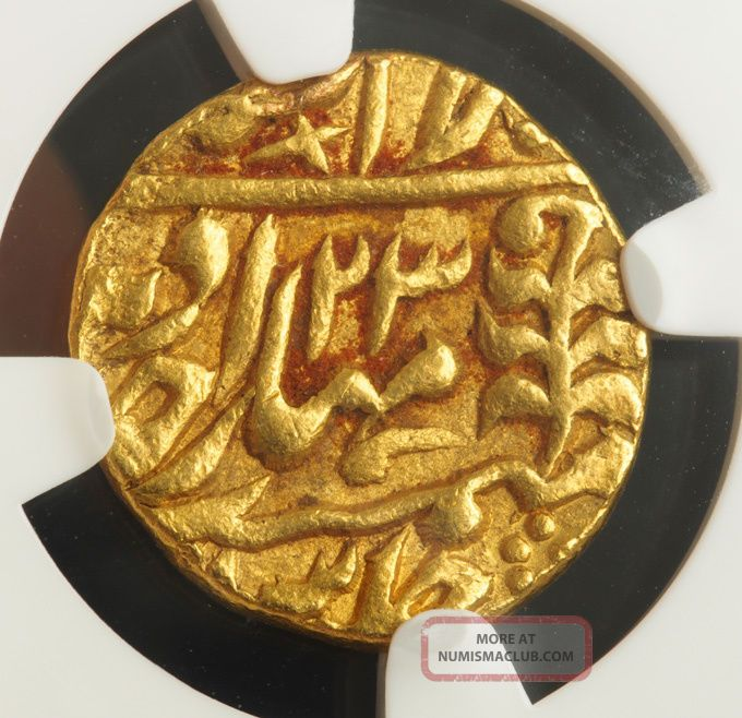 1828,  India,  Jaipur,  Madho Singh Ii.  Certified Gold Mohur Coin.  Ngc Au - 58 Coins: World photo