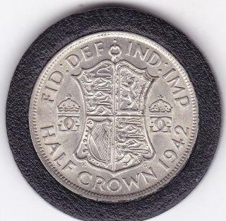 1942 King George Vi Half Crown (2/6d) - Silver (50) Coin photo