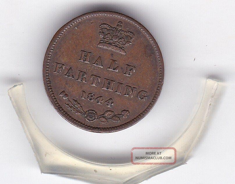1844 Queen Victoria Half Farthing (1/8d) British Coin UK (Great Britain) photo