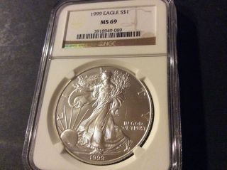 1999 Silver American Eagle (ngc Ms - 69) photo