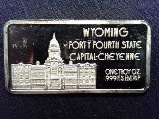 Wyoming 44th State 1 Oz.  999 Fine Silver Bar 50 States Series photo