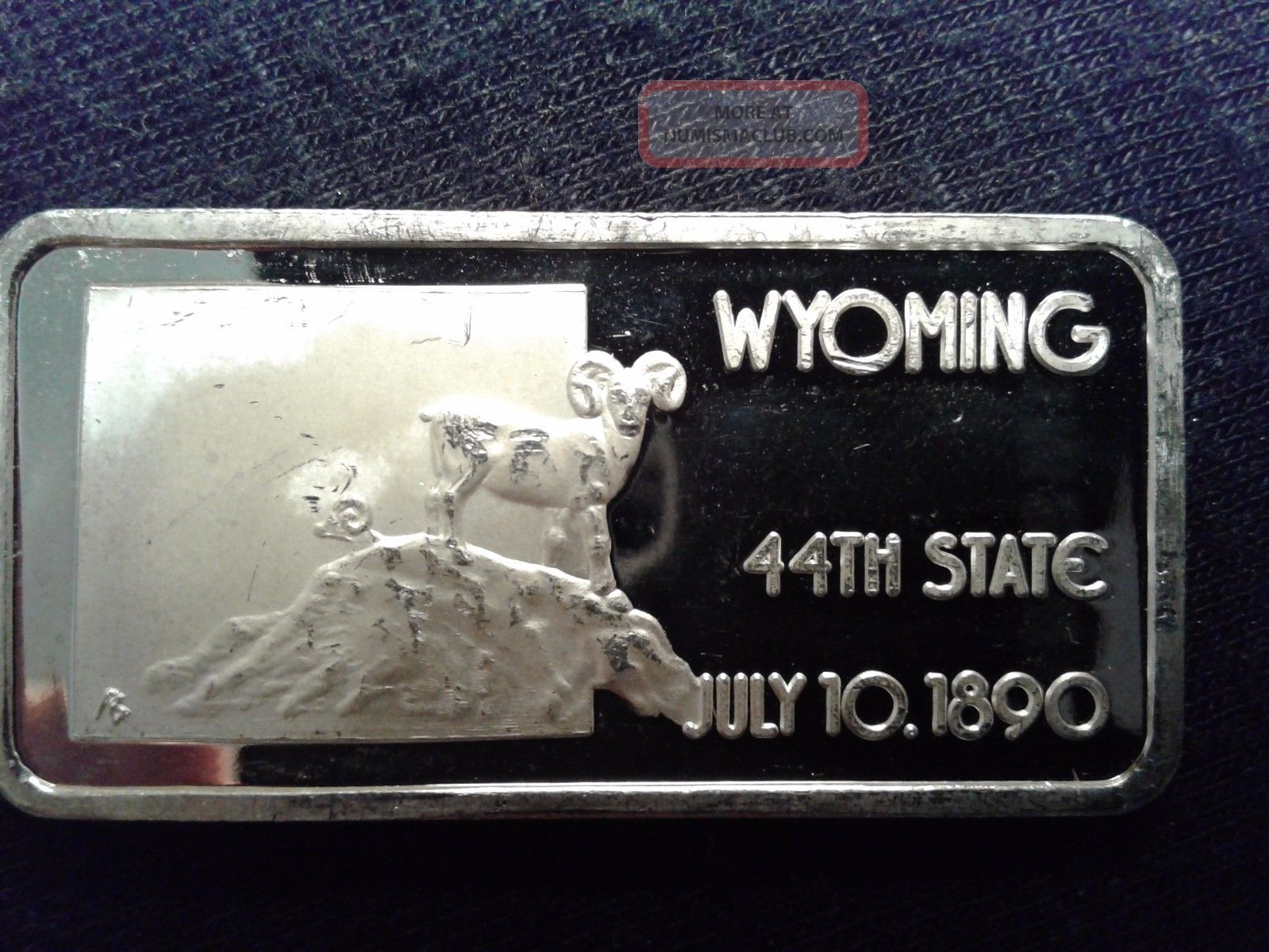 Wyoming 44th State 1 Oz 999 Fine Silver Bar 50 States Series