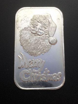 Silvertowne Merry Christmas 1 Oz.  999 Fine Silver Bar (cr3 - 2) photo